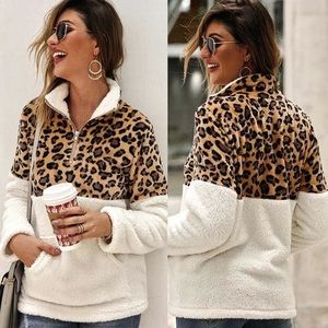 NEW Faux Fur Leopard Contract Pullover Sweater